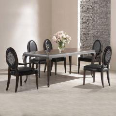 DP9040-6  Leather Dining Set (1 Table + 2 Arm + 4 Side)  ~Top Quality~