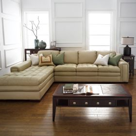 7491-Ivory-Chaise  Leather Sofa