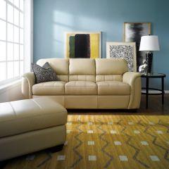 7764-Ivory  Leather Sofa
