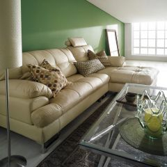 S-1552-Ivory  Leather Sofa w/ Chaise (Right or Left)
