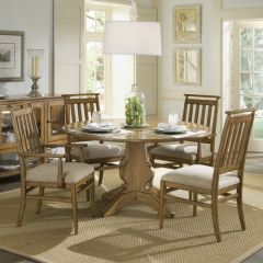 64225 Modern Country  Round Dining Set (1 Table + 2 Arm + 2 Side)