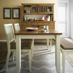 D644-4-Cream Dining Set (1 Table + 2 Chairs + 1 Bench)