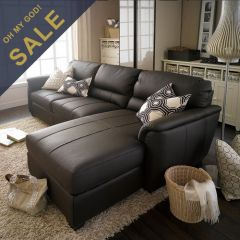 7764-Brown-Chaise  Leather LAF Sofa