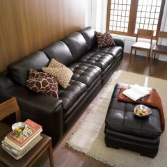 7491-Brown  Leather Sofa (2+2)