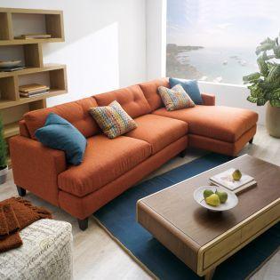 005 Mia-Orange  Sofa w/ Chaise