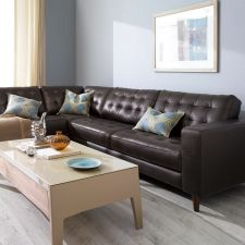 8424-Brown-Chaise  Leather Sofa