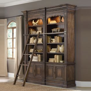 5070-10225  Double Bookcase w/ Ladder and Rail
