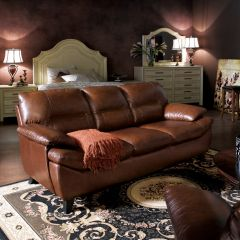 9970-Hazelnut  Leather Sofa