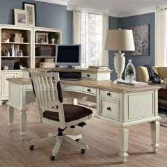 i67-372 Cottonwood  Curved L-Desk
