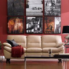 9970-Pebble  Leather Sofa