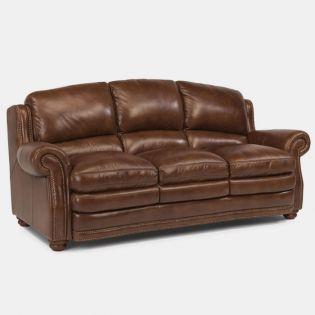 1473-31 Hamlin  Leather Sofa   ~Blue Steel~