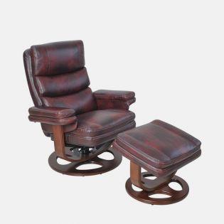 15-8023T Bella II-Mahogany  Leather Recliner w/ Ottoman