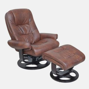 15-8021T Jacque II-Whiskey  Leather Recliner w/ Ottoman
