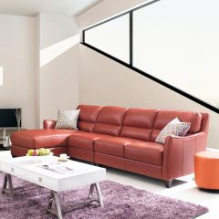 8586C-Papaya-Chaise  Leather Sofa (3 Pcs)