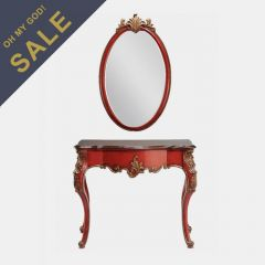 12908 Red  Demilune Table and Mirror
