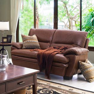 7893-A-Y-2S-Brown  Leather Loveseat