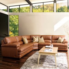 10299-Cognac  Sectional Leather Sofa
