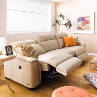 E1069-Taupe  Power Leather Recliner Sofa