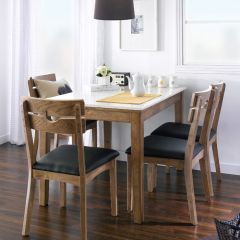 D315-4C-Walnut  Marble Dining Set (1 Table + 4 Chairs)