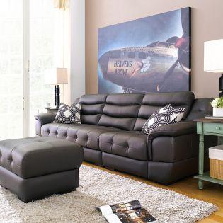 M8001-Brown  Leather Sofa