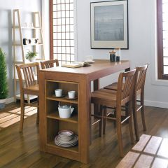 D390-4-Oak  Island Dining Set (1 Table + 4 Chairs)