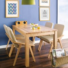 Nana-4C-Natural  Dining Set  (1 Table + 4 Chairs)