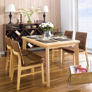 Guliver-4C-Brown  Dining Set (1 Table + 4 Chairs)