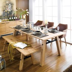 Stockholm-6  Dining Set (1 Table + 3 Chairs + 1 Bench)