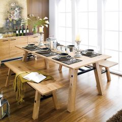 Stockholm-6  Dining Set (1 Table + 2 Benches)