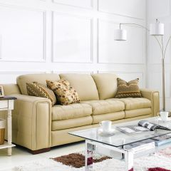 7491-30-Ivory  Leather Sofa