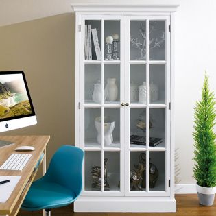 Melina-White  Glass Cabinet