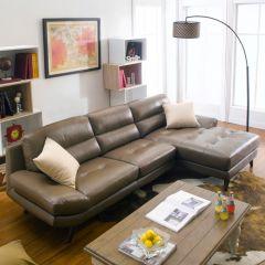 20001-Mocha  Leather Sofa w/ Chaise