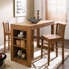 D390-2-Oak  Island Dining Set (1 Table + 2 Chairs)