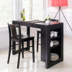 D390-2-Black  Island Dining Set (1 Table + 2 Chairs)