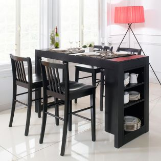 D390-4-Black  Island Dining Set (1 Table + 4 Chairs)