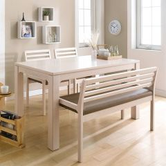 D5400-4-Cream  Dining Set  (1 Table + 2 Chairs + 1 Bench)