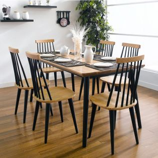 Browny-6  Dining Set  (1 Table + 6 Chairs)