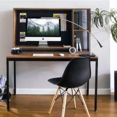 HDH-100-Walnut  Desk w/ Hutch