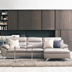 MU-10282-Marble  Leather Sofa w/ Chaise