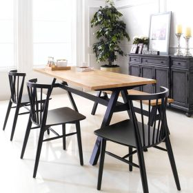 Firenze-6-Black  Dining Set (1 Table + 3 Chairs + 1 Bench)