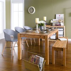 Turbine-6-3GREY-1B  Dining Set (6인용) (1 Table + 3 Chairs + 1 Bench)