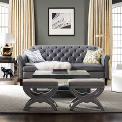 8916-Grey  Leather Sofa