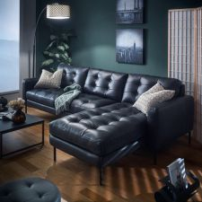 10320-Midnight -Chaise  Leather Sofa