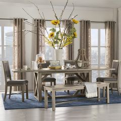 Hideaway ZHID-8060D  Trestle Dining Set  (1 Table + 4 Chairs + 1 Bench)