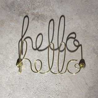 1005956-104 Wired Hello-Brass Wall Décor
