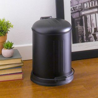 A-10106P-5L-BLACK  Round Retro Trash Can