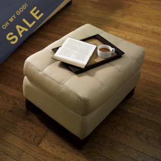 6692-Ivory  Leather Ottoman