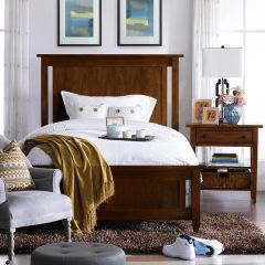 Modern Country-Brown  Panel Single Bed (침대) (매트 규격: 120cmx 203cm)