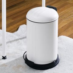 A-10106P-12L-Cream  Round Retro Trash Can