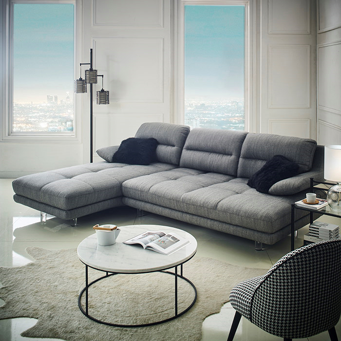 <b>10166M Chaise </b> Grey Sofa
